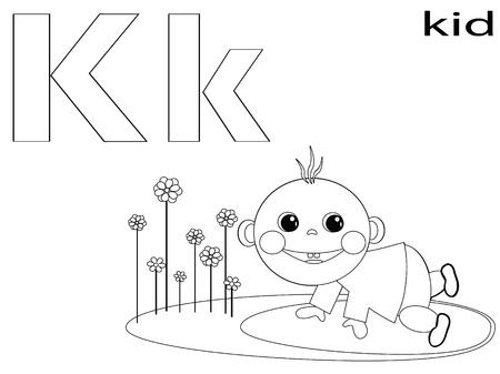 Coloring Alphabet for Kids, K Stock Vector - 12248659
