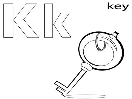 Coloring Alphabet for Kids, K Vector