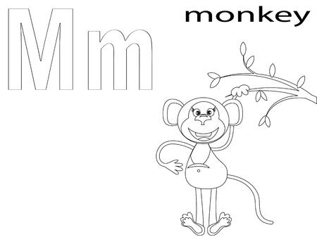 monkey clip: Coloring Alphabet for Kids, M