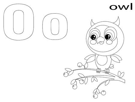 clip art draw: Coloring Alphabet for Kids, O Illustration