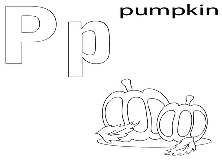 Coloring Alphabet for Kids, P Vector
