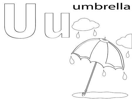 umbrella rain: Coloring Alphabet for Kids ,U