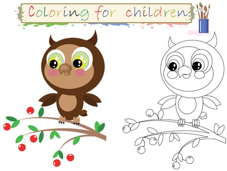 one color: Coloring for children. Funny ,cute owl.Vector
