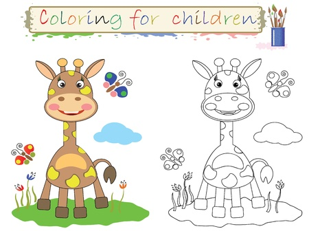 clip art draw: Coloring for children. Funny, cute giraffe.Vector