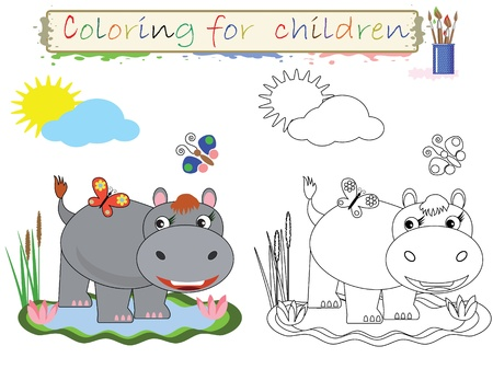 Coloring for children. Funny cute hippo.Vector Vettoriali