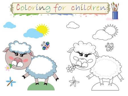 Coloring for children. Funny cute lamb.Vector