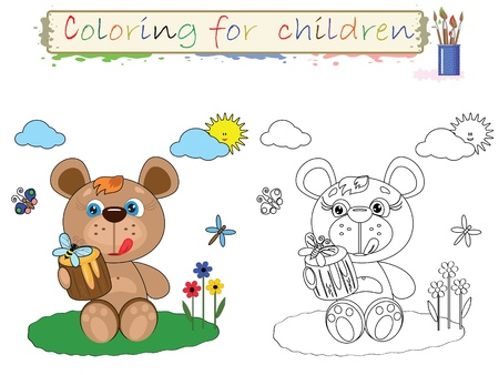 Coloring for children ,cute bear  Vector