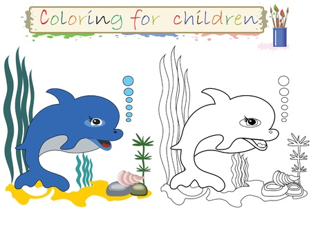 the infancy: Coloring for children ,cute dolphin  Illustration