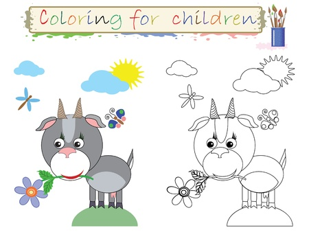 Coloring for children ,cute goat  Stock Vector - 12497712