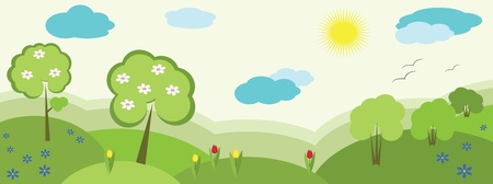 tulips in green grass: Nature banner, vector
