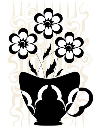flowerpots: Decor with flowers  Illustration