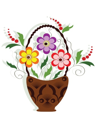 Funky flowers in the basket Illustration