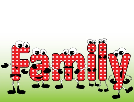 Family word ,cartoon  Vector
