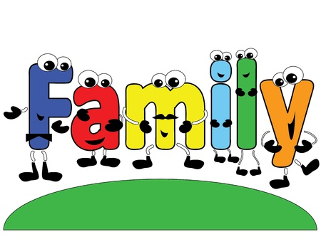 family isolated: Family word ,cartoon