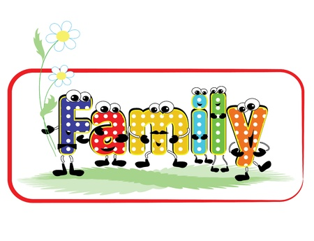 Family word ,cartoon Stock Vector - 13160113