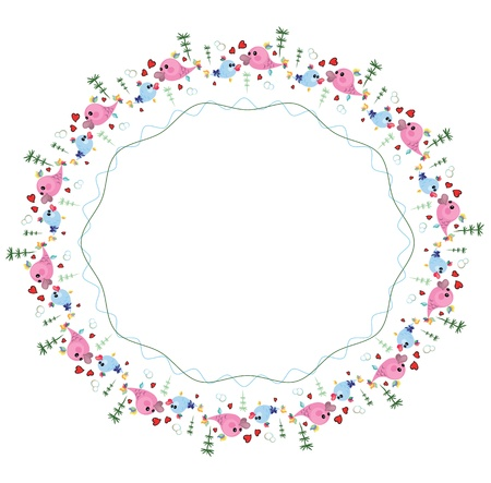 Round frame with fish, vector