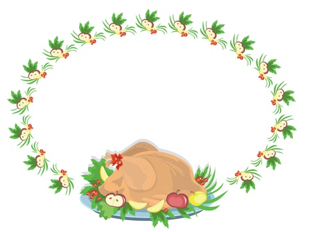 Round frame with turkey, vector Stock Vector - 13287674