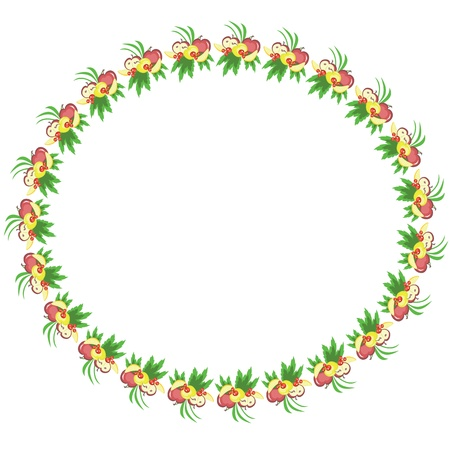 surprising: Round frame with fruits, vector. Illustration