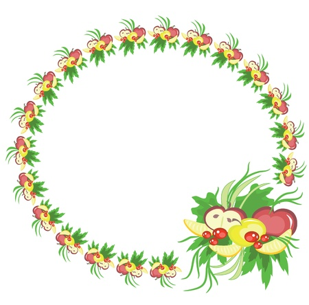 crop circle: Round frame with fruits, vector. Illustration