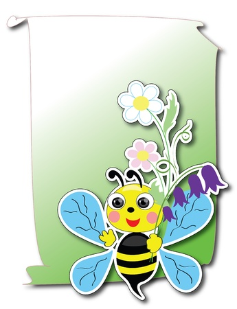 Card with bee Vector