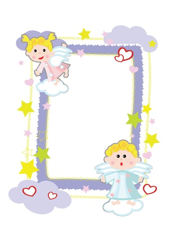 Frame with angels  Vector