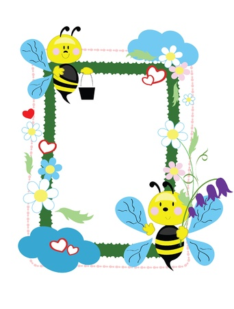 Frame with bees  Vector
