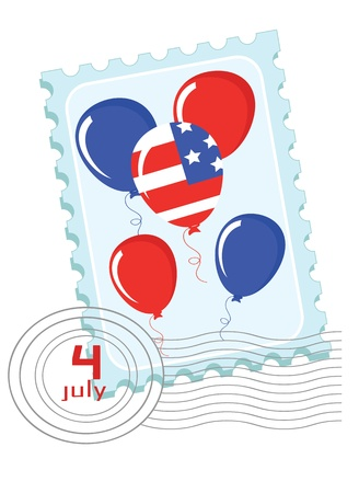 Independence Day   Postage stamp with balloons  Vector