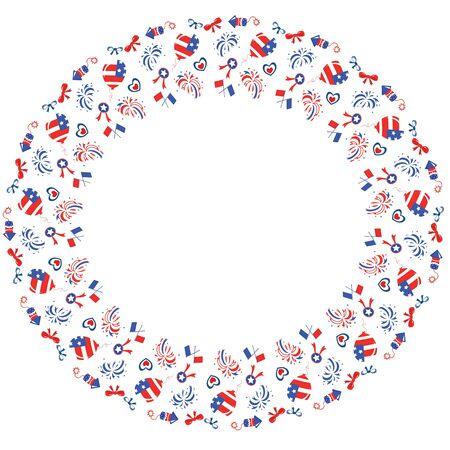 Round frame , Independence Day  Illustration