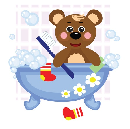 cleanliness: Teddy bear showering in bath Illustration