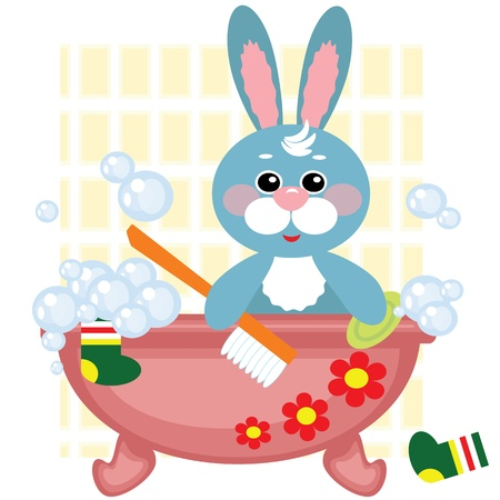 Hare showering in bath Vector