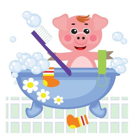 showering: Piggy showering in bath