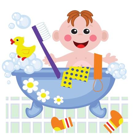 showering: Boy showering in bath