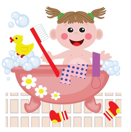 limpieza: Chica ducha en el baño Vectores