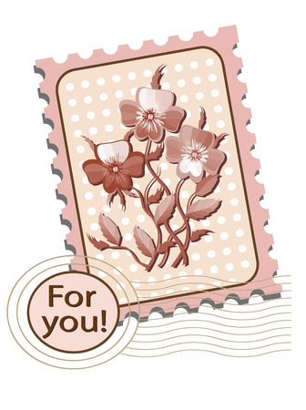 Postage stamp with  pansies Vector