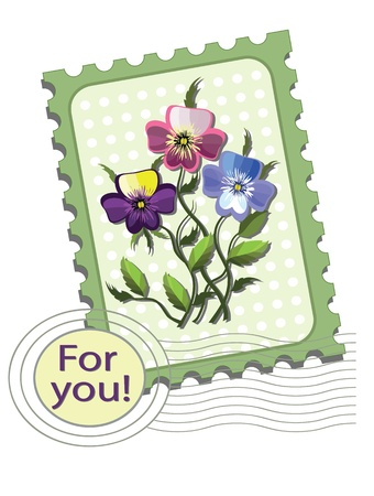 Postage stamp with  pansies Stock Vector - 13538231