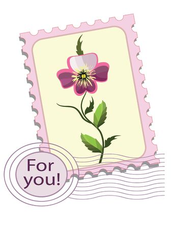 Postage stamp with  pansy Vector