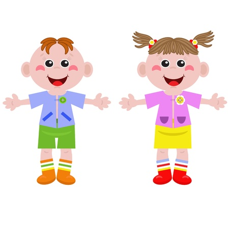 Funny little girl and boy Stock Vector - 13613283