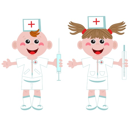 Doctor and nurse ,cartoon  Vector
