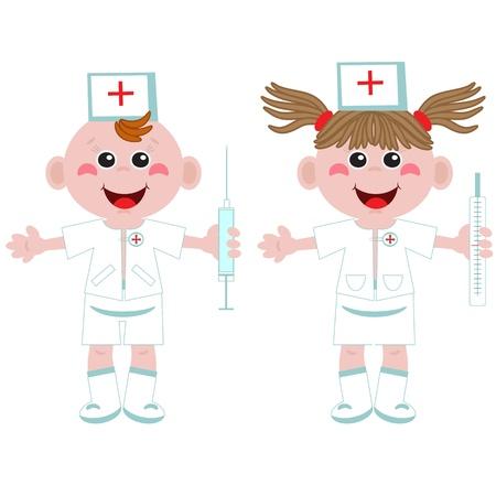 boy doctor: Doctor and nurse ,cartoon