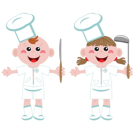 Kids and Jobs - Cooking Vector