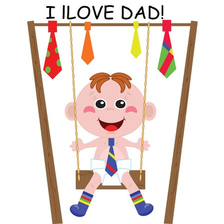 Dad Day   A boy playing swing Stock Vector - 13873924