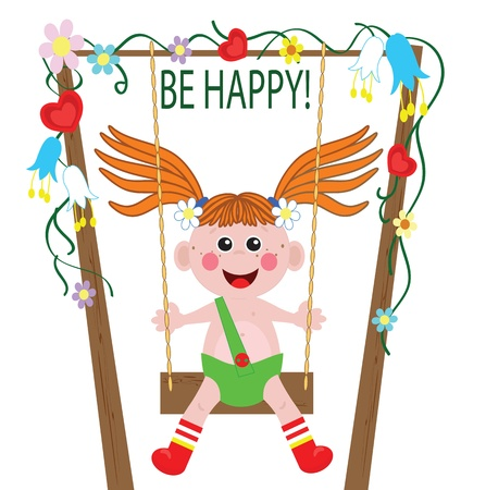 A  girl playing swing Congratulation to holiday  Vector