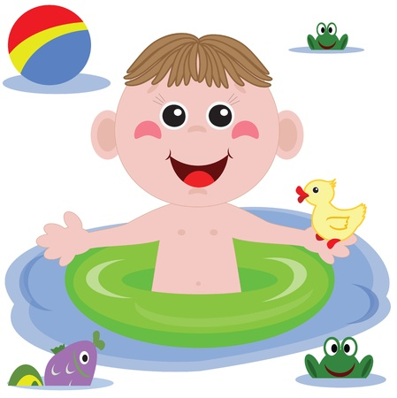 Swimmer funny boy Vector