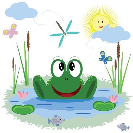 poisson rigolo: Funny frog, vecteur. Illustration