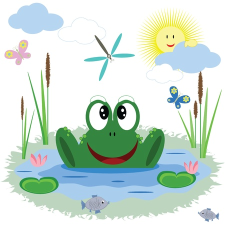 pond water: Funny frog, vector.