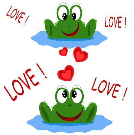 Two frogs, Valentine day card. Vector