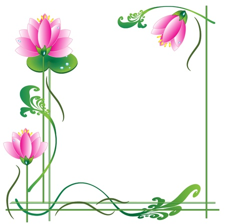 frame with lotuses Stock Vector - 14109075