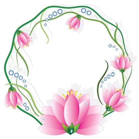 waterlily: Round frame with lotuses Illustration