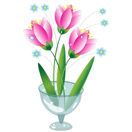 asian tulips: Flowers in the glass vase Illustration