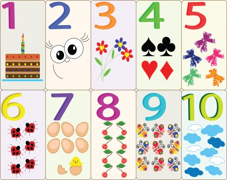 number of animals: Numbers, set Illustration
